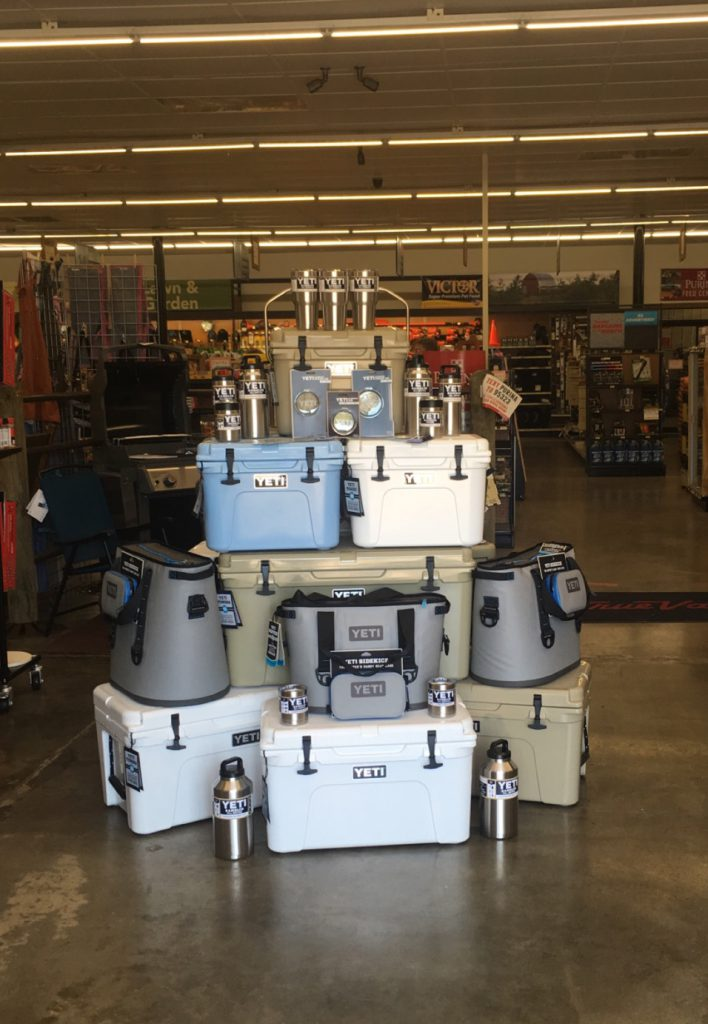 A selection of Yeti Coolers at Farmers Coop