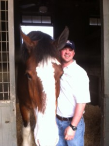 Horse in stall with man, waiting for horse feeds