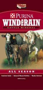 Purina Wind & Rain Cattle Feeds Mineral, all season