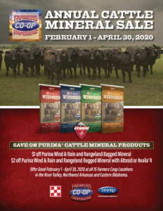 Purina Cattle Mineral Savings At Farmers Coop in The River Valley, NW Arkansas, and Eastern Oklahoma.