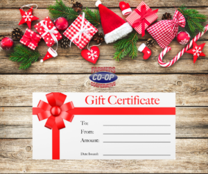 Struggling with a gift idea? Do you have a hard to shop for person on your Christmas list?  Look no further than Farmers Coop for Holiday gift certificates!