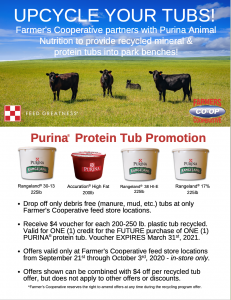 Upcycle your cattle tubs and get $4 off a future Purina Protein Tub purchase at Farmers Cooperative feed store locations.