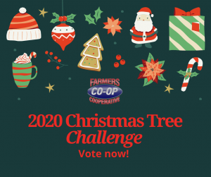 The Christmas Tree Challenge 2020 at Farmers Co-op kicks off December 7-18. Vote for your favorite Christmas Tree!