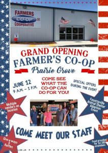 Join us for the Prairie Grove Coop Grand Opening Eventon Saturday, June 12th from 9:00 a.m. to 1:00 p.m.!