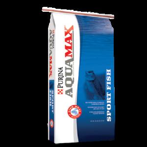 Purina AquaMax Sport Fish MVP. Blue and white feed bag.