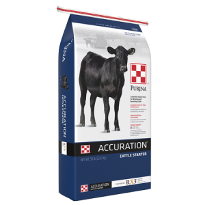 Purina Accuration Cattle Starter Blue Feed Bag with black calf.