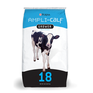Purina Ampli-Calf Grower. Blue, black and white feed bag with cows.