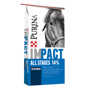 Purina Impact All Stages 14% Textured Horse Blue Feed Bag.