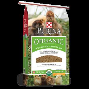 Purina Organic Starter Grower Feed Bag.