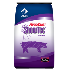 MoorMan's ShowTec ShowGuard Dewormer. Blue and purple feed bag. For show swine.