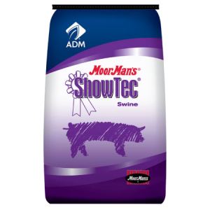 MoorMan's ShowTec BB 18 BMD Medicated. Blue and teal feed bag with swine.