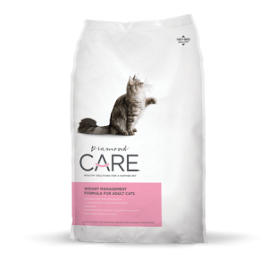 Diamone Care Adult Cat Weight Management food. White dry cat food bag with grey cat.
