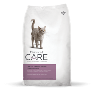 Diamond Care Urinary Support Cat Formula. White dry cat food bag with grey cat.