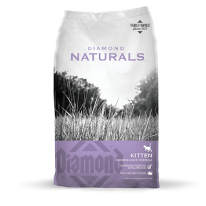 Diamond Natural Kitten Formula Dry Cat Food. Purple and grey cat food bag.