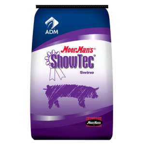 MoorMan's ShowTec Sow Ration. Blue and purple swine feed bag.