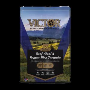 Victor Select Grain Free Beef Meal and Brown Rice Dry Dog Food. Blue dog food bag.