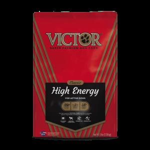 Victor Classic High Energy Formula Dry Dog Food. Red dog food bag.