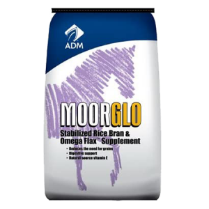 ADM MoorGlo Equine Supplement. Blue and white feed bag. Features horse drawing.