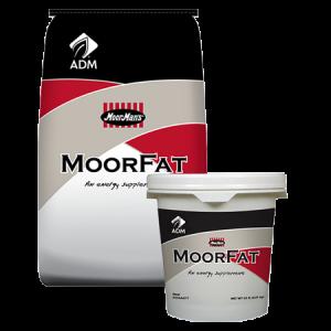 ADM Moorman's MoorFat. Feed bag and pail.