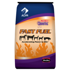 ADM MoorMans ShowTec Fast Fuel. Blue and orange feed bag. Feed for show livestock.
