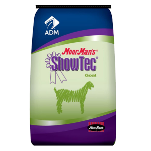 MoorMan's ShowTec AminoGain Goat. Blue and green feed bag.