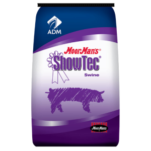 MoorMan's ShowTec Final Burst. Show feed for swine. Blue and purple feed bag.