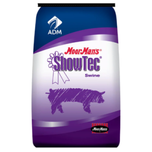 MoorMan's ShowTec Time Out. Blue and purple feed bag. Food for show swine.