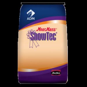 MoorMan's ShowTec RumaFill. Show feed. Blue and orange feed bag.