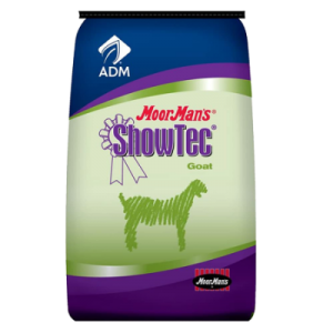 MoorMan's ShowTec MoorGrands Goat Feed RU. Blue and green feed bag. Food for show goats.
