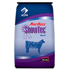 MoorMan's ShowTec Cattle Pellet Finisher BT 11-4.5-13.5. Blue feed bag. Show feed for cattle.