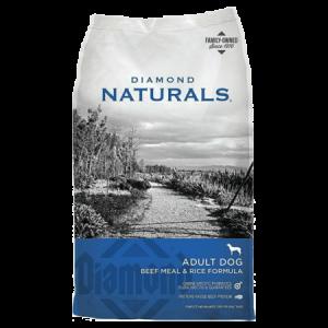 Diamond Naturals Beef & Rice Dry Dog Food. Blue and grey dry dog food bag.