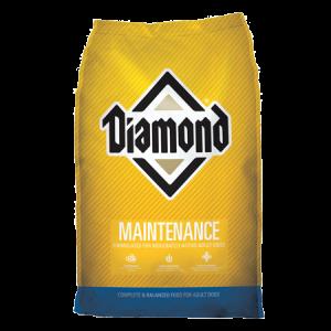 Diamond Maintenance Adult Dry Dog Food. Yellow and green dry dog food bag.