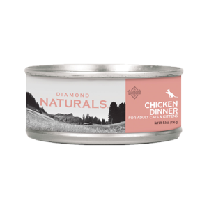 Diamond Naturals Chicken Dinner Adult & Kitten Canned Cat Food. Pink label.