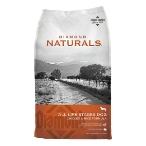 Diamond Naturals Chicken and Rice Formula All Life Stages dog food. Orange and grey dry dog food bag.