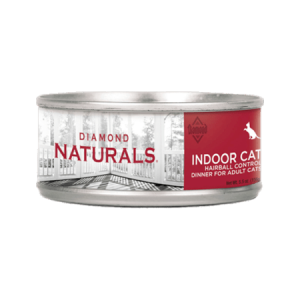 Diamond Naturals Indoor Cat Hairball Control Dinner. Canned cat food. Red label.
