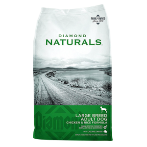 Diamond Naturals Large Breed Adult Chicken & Rice Dog Food. Green and grey dog food bag.