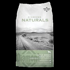 Diamond Naturals Large Breed Adult Lamb Meal & Rice Formula Dry Dog Food. Green and grey dog food bag.