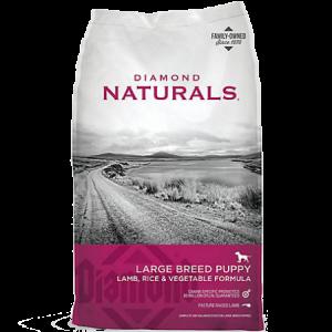 Diamond Naturals Large Breed Puppy Lamb & Rice. Hot pink and grey dry dog food bag.
