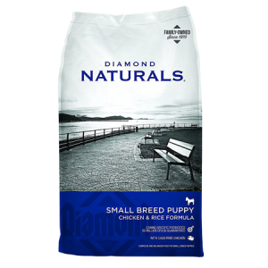 Diamond Naturals Small Breed Dry Dog Food. Blue and grey dry dog food bag.