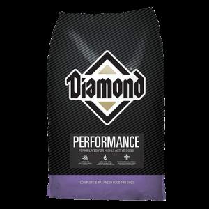 Diamond Performance Formula Adult Dry Dog Food. Black dog food bag with purple trim.