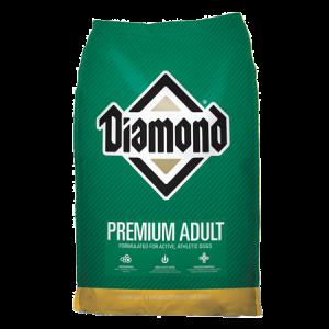 Diamond Premium Adult. Green and gold dog food bag. Dry Dog Food