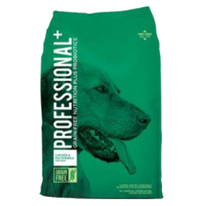 Diamond Professional Plus Grain Free Dry Dog. Green dry dog food bag.