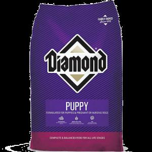 Diamond Puppy Formula Dry Dog Food. Purple 40-lb dry dog food bag.