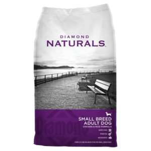Diamond Naturals Small Breed Adult Chicken Dry Dog Food. Purple and grey dry dog food bag.