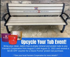 Recycle Cattle Tubs at Farmers Coop August 2 through August 21, 2021.