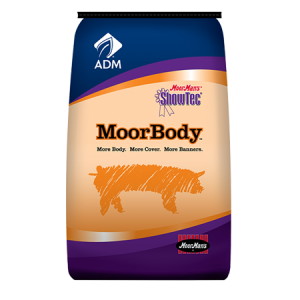 MoorMan's Showtec MoorBody. Blue and orange feed bag. Show feed for swine.