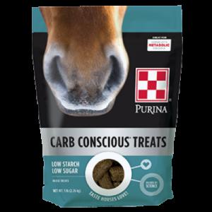 Purina Carb Conscious Horse Treats. 5-lb teal bag.