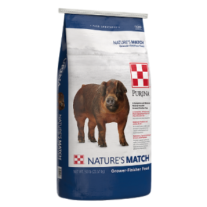 Purina Nature's Match Grower-Finisher. Blue and white 50-lb feed bag. Feed for swine.