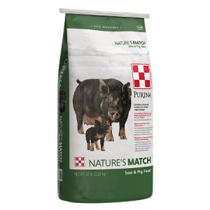 Purina Nature's Match Sow & Pig . Green and white 50-lb feed bag.