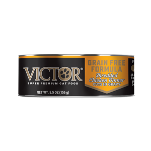Victor Grain Free Formula Shredded Chicken Dinner Cuts in Gravy 5.5-oz Canned Cat Food. Black and gold cat food can.